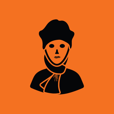 a poet: Poet icon. Orange background with black. Vector illustration.