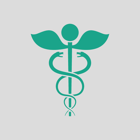esculapio: Medicine sign icon. Gray background with green. Vector illustration.