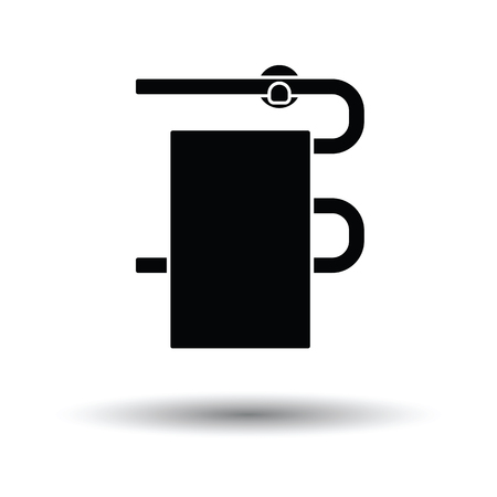 hotel rooms: Heated towel rail icon. White background with shadow design. Vector illustration.
