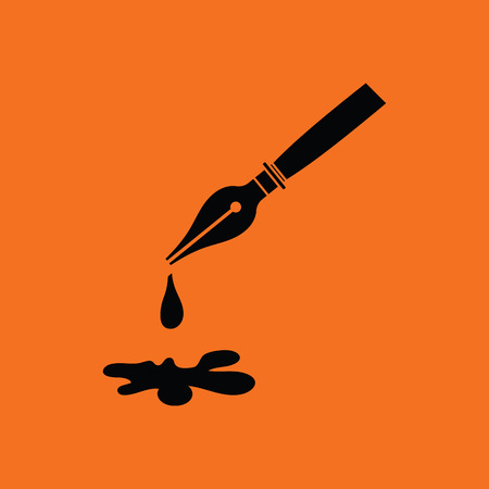 Fountain pen with blot icon. Orange background with black. Vector illustration. Illustration