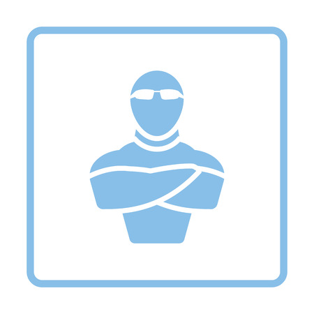 muscular control: Night club security icon. Blue frame design. Vector illustration. Illustration