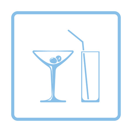 bebidas frias: Coctail glasses icon. Blue frame design. Vector illustration.