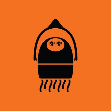 blow drying: Hairdryer icon. Orange background with black. Vector illustration. Illustration