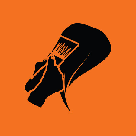 Painting hair icon. Orange background with black. Vector illustration. Illustration