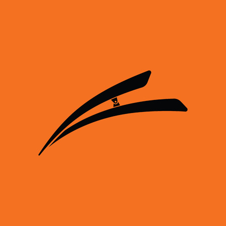 personal grooming: Hair clip icon. Orange background with black. Vector illustration. Illustration