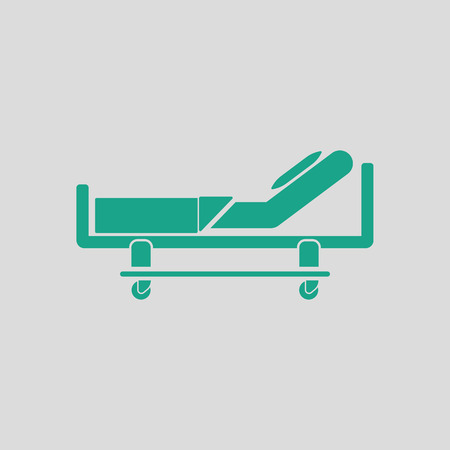 recliner: Hospital bed icon. Gray background with green. Vector illustration.