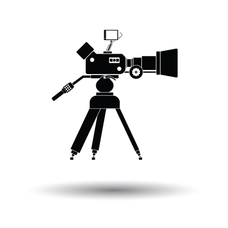 Movie camera icon. White background with shadow design. Vector illustration.