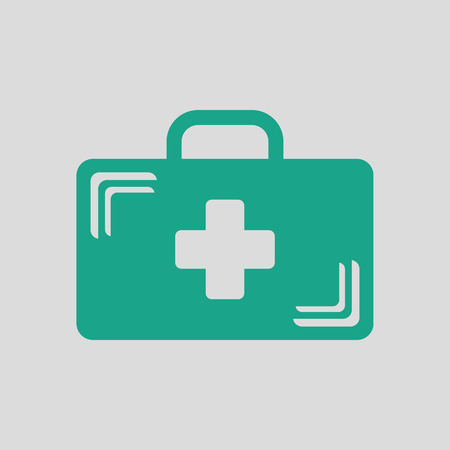 medical case: Medical case icon. Gray background with green. Vector illustration.