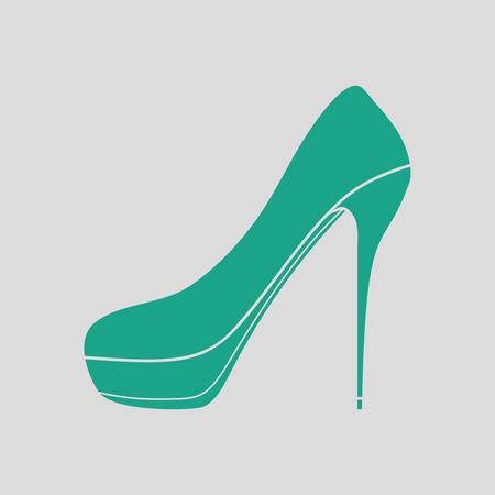 calcanhares: ícone sapato de salto alto. Fundo cinza com verde. Ilustração do vetor.