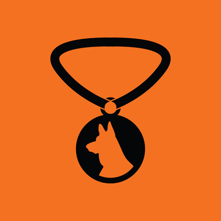 Dog medal icon. Orange background with black. Vector illustration.