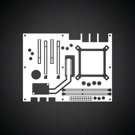 capacitor: Motherboard icon. Black background with white. Vector illustration.
