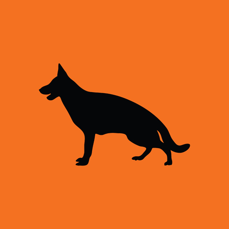 pure breed: German shepherd icon. Orange background with black. Vector illustration.