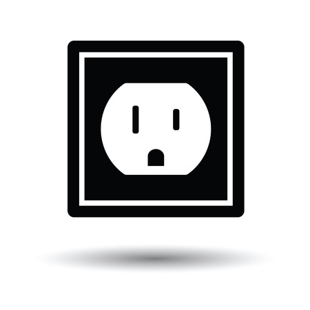 electric outlet: Electric outlet icon. White background with shadow design. Vector illustration.