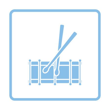 drumming: Drum toy icon. Blue frame design. Vector illustration.