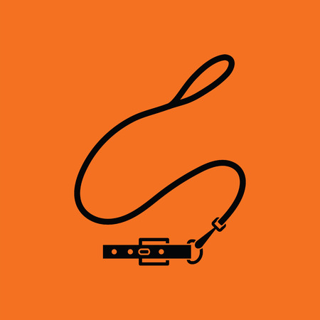 lead: Dog lead icon. Orange background with black. Vector illustration.