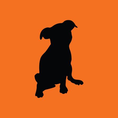 whelp: Puppy icon. Orange background with black. Vector illustration.