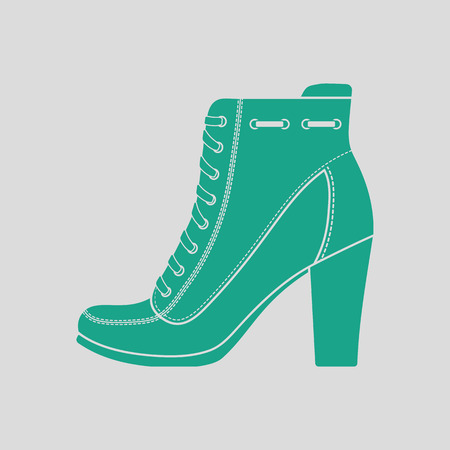 heel: Ankle boot icon. Gray background with green. Vector illustration.