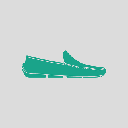 loafer: shoe icon. Gray background with green. Vector illustration.