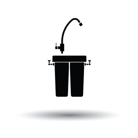 water filter: Water filter icon. White background with shadow design. Vector illustration.