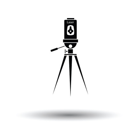 accuracy: Laser level tool icon. White background with shadow design. Vector illustration.
