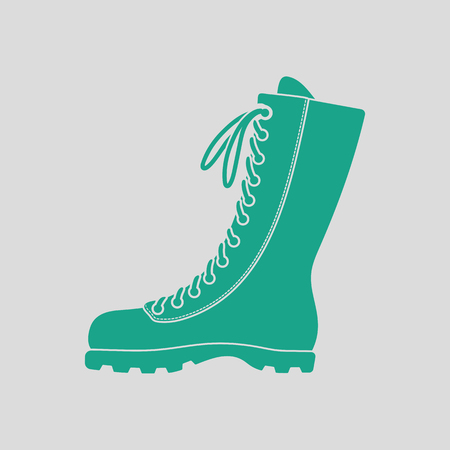 hiking boot: Hiking boot icon. Gray background with green. Vector illustration. Illustration