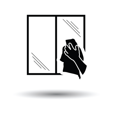 wiping: Hand wiping window icon. White background with shadow design. Vector illustration.