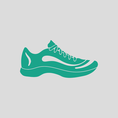 Sneaker icon. Gray background with green. Vector illustration.