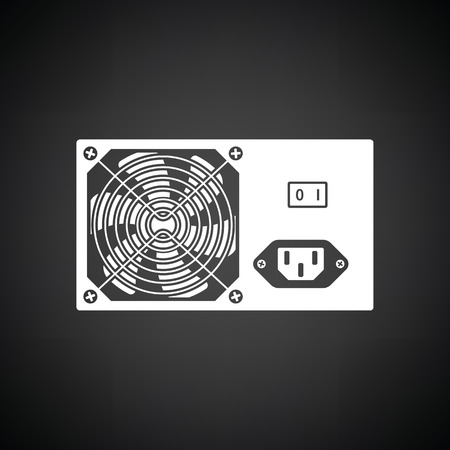 power supply unit: Power unit icon. Black background with white. Vector illustration.