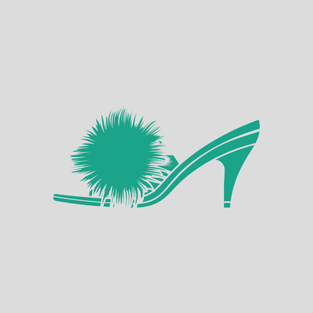 Woman pom-pom shoe icon. Gray background with green. Vector illustration.