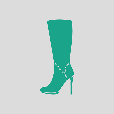 autumn woman: Autumn woman high heel boot icon. Gray background with green. Vector illustration.