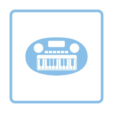Synthesizer toy icon. Blue frame design. Vector illustration.