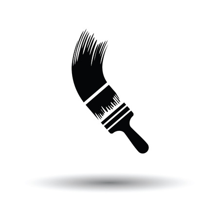 brush paint: Paint brush icon. White background with shadow design. Vector illustration.