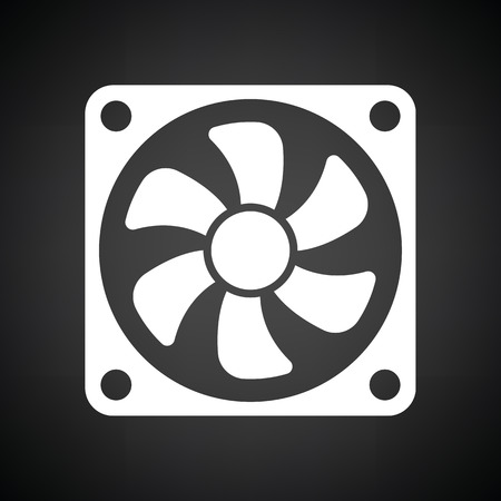 Fan icon. Black background with white. Vector illustration.