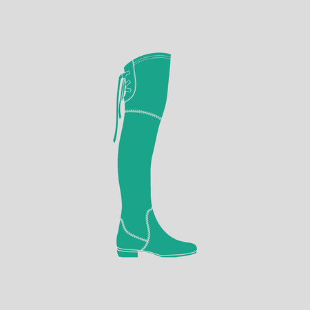 hessian boots: boots icon. Gray background with green. Vector illustration.