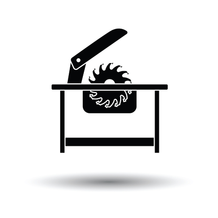 circular: Circular saw icon. White background with shadow design. Vector illustration.