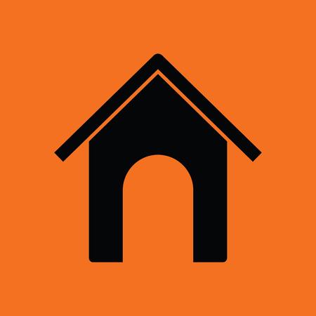 pet breeding: Dog house icon. Orange background with black. Vector illustration.
