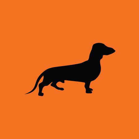 Dachshund dog icon. Orange background with black. Vector illustration.