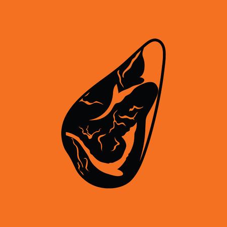 Meat steak icon. Orange background with black. Vector illustration. Illustration
