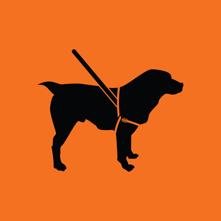 dog walking: Guide dog icon. Orange background with black. Vector illustration. Illustration