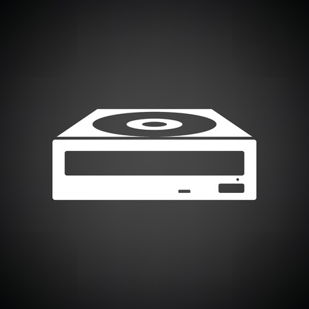 rom: CD-ROM icon. Black background with white. Vector illustration.