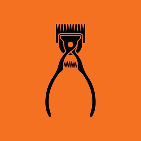 Pet cutting machine icon. Orange background with black. Vector illustration.