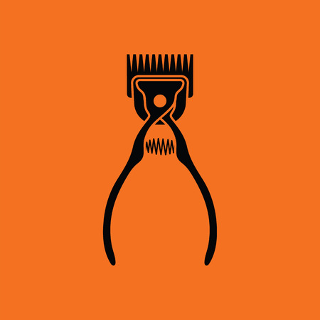 hair clippers: Pet cutting machine icon. Orange background with black. Vector illustration.