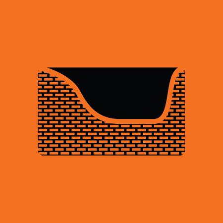 Dogs sleep basket icon. Orange background with black. Vector illustration.
