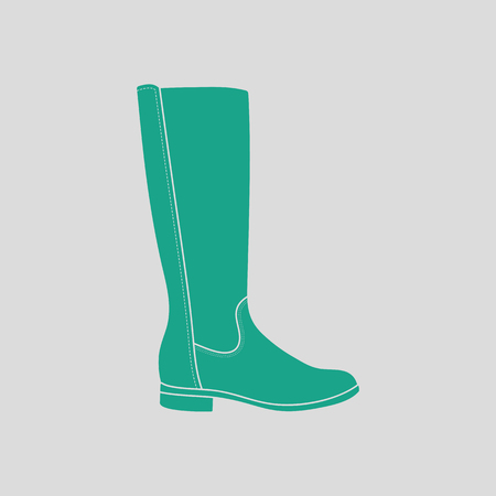 hessian boots: Autumn woman boot icon. Gray background with green. Vector illustration. Illustration