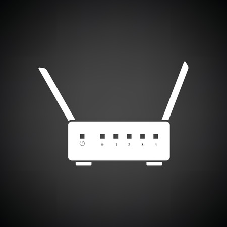 wan: WiFi router icon. Black background with white. Vector illustration. Illustration