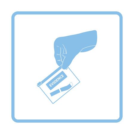 theft proof: Hand holding evidence pocket icon. Blue frame design. Vector illustration. Illustration
