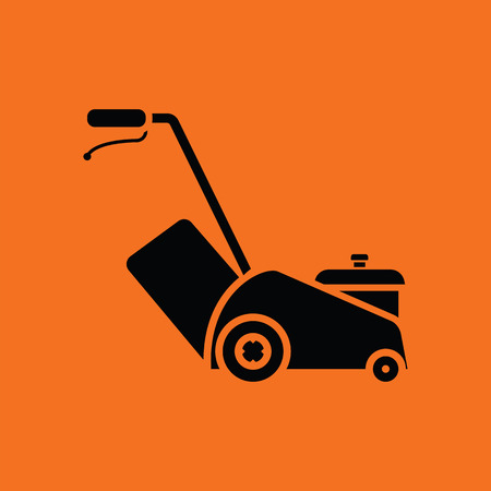 push mower: Lawn mower icon. Orange background with black. Vector illustration.