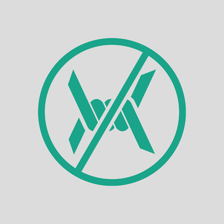 Barbed wire icon. Gray background with green. Vector illustration.