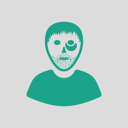 criminal: Criminal man icon. Gray background with green. Vector illustration.
