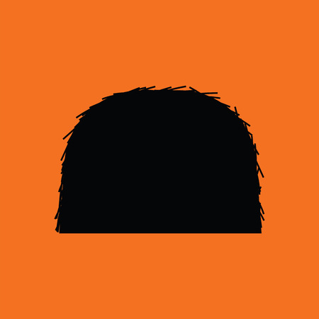 Hay stack icon. Orange background with black. Vector illustration.